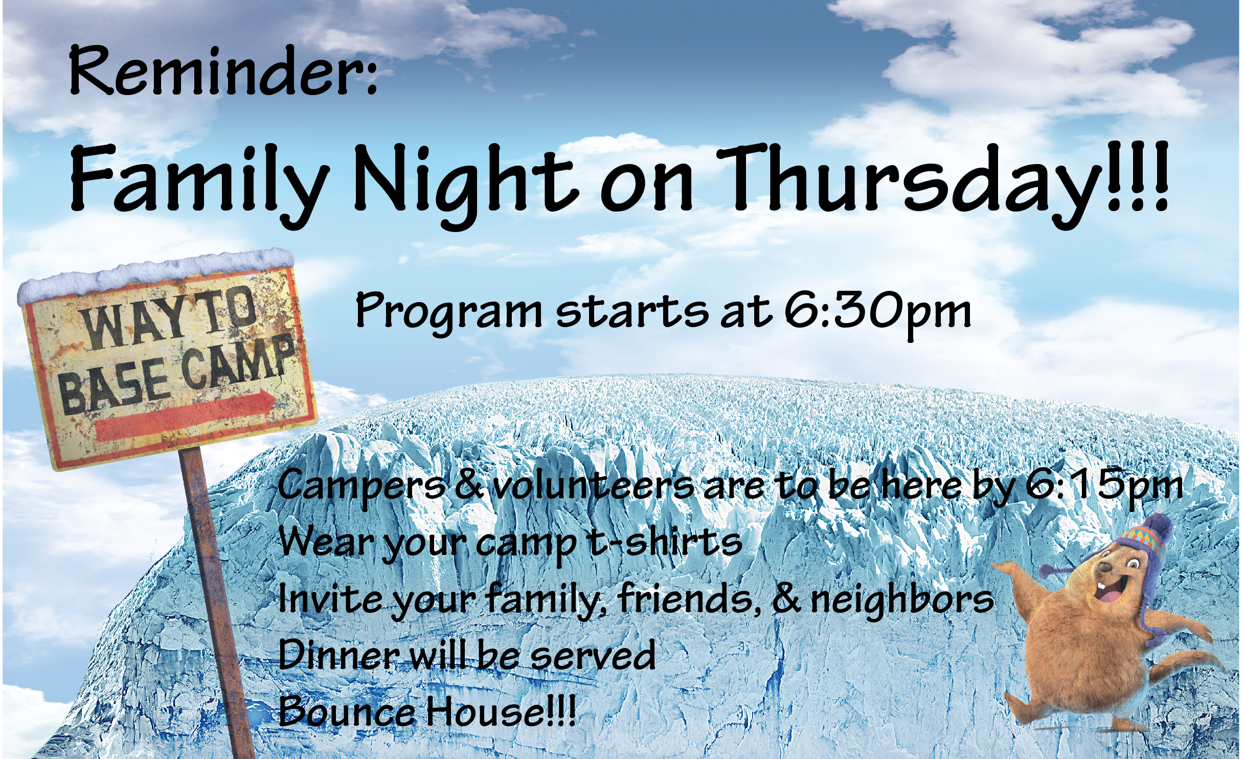 Camp Creekside Thursday Night Dinner Graphic